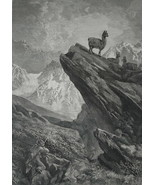 HUNTING Guanacos Lamas in South America - 1878 Fine Quality Print - $35.96