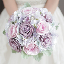 Wedding bridal simulation bouquet light purple hydrangea Rose artificial... - $50.00