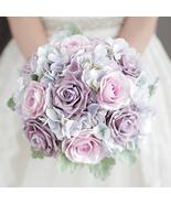 Wedding bridal simulation bouquet light purple hydrangea Rose artificial... - $50.00