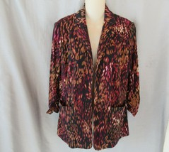 Kasper jacket open front 4P multi geometric 3/4 ruched sleeves - $16.61