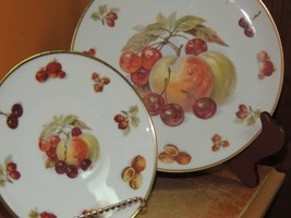 "Winterling Bavaria Plate 7.75"" & Saucer Germany Peach Fruit Nut Gold Har... - $14.99"
