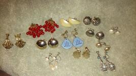 Set of 12 pair vintage / antique screw back earrings faux pearls birdcag... - $39.99