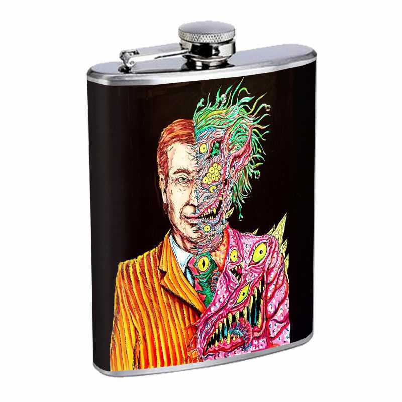 Creepy Cartoon Zombie Em2 Flask 8oz Stainless Steel Hip Drinking Whiskey