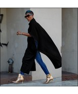 Long Loose Cashmere Cape Tunic Hoodie Open Slit Sides Five Colors And Fo... - $88.16