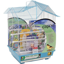 Prevue Pet  White/blue Double Roof Small Bird Cage Kit 048081911105 - £45.82 GBP
