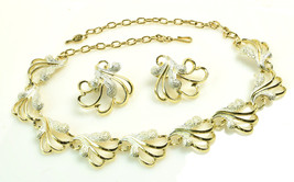 "Vintage SARAH COVENTRY Textured Gold Silver Tone 17"" Necklace Clip Earrings Set - $28.71"