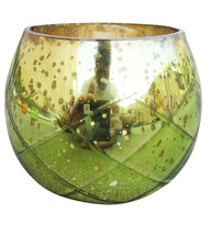 "3.50"" H Votive in Green Antique Mercury In Diamond Cut Design - $28.97"