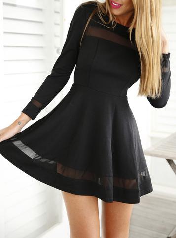 Mini Skater Dress - Black / Chiffon Inserts / Long Sleeve