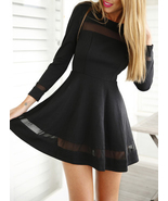 Mini Skater Dress - Black / Chiffon Inserts / Long Sleeve - $21.00