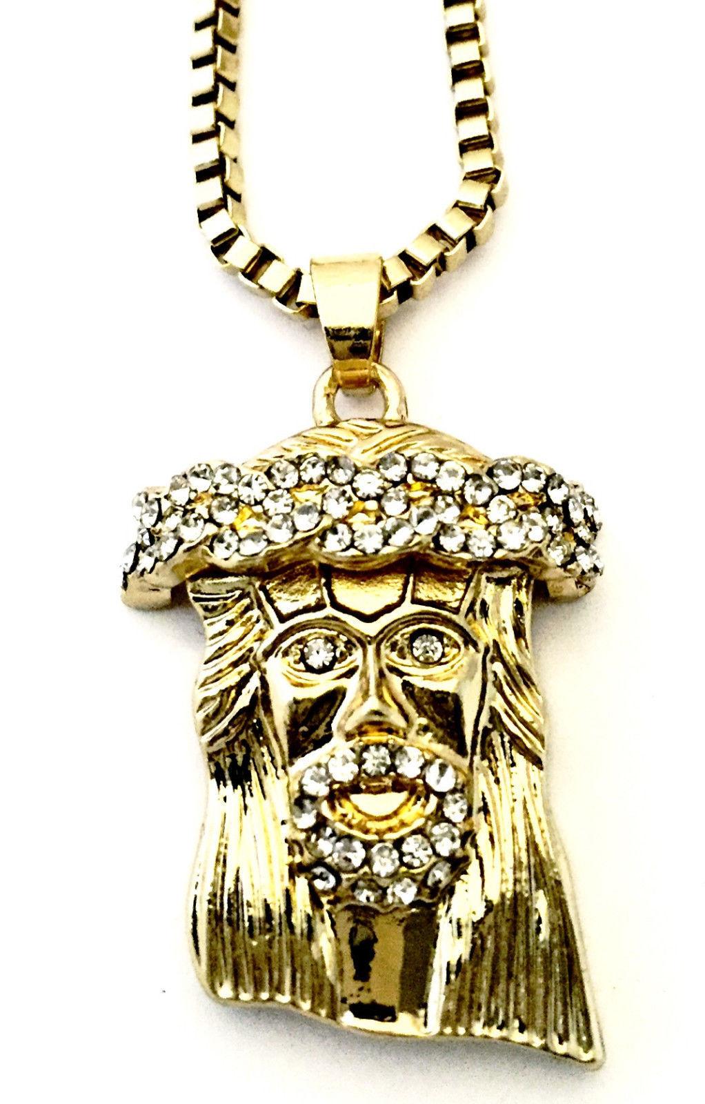 "Iced CZ 14K Gold Plated Mini Micro Pave Jesus Piece Charm Pendant w Necklace 30"""