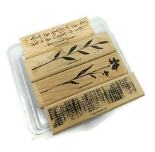 Stampin' Up! The Art of Life 4 Piece Wooden Stamps Wildflower Quote - $10.88