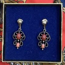 Avon Victorian Revival Drop Dangle Clip On Earrings Vintage Faux Coral C... - $12.81