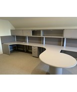 Four Person Office Workstation Desk. 26' W/ Storage And Lights. - $1,705.25