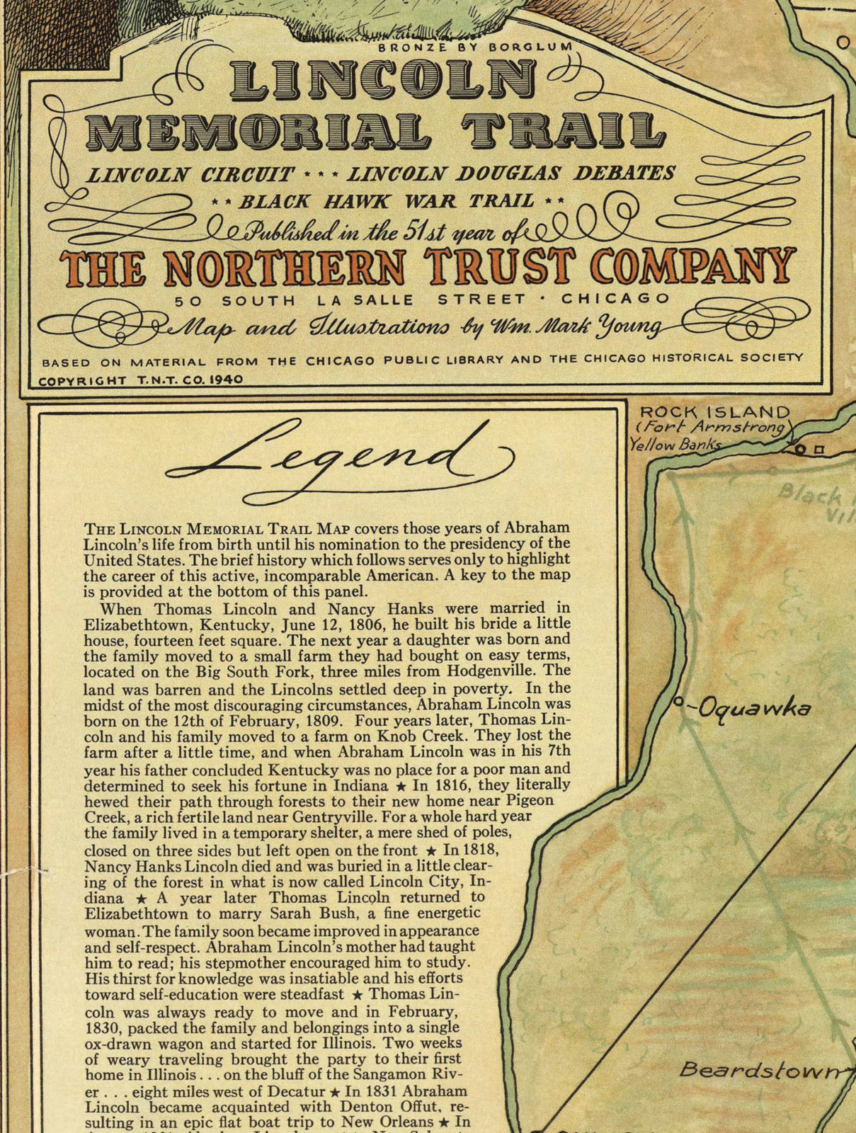 Historical Pictorial Karte Abraham Lincoln Memorial Trail Schwarz Hawk Krieg