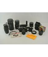Pentax ME Super Vintage Film Camera + Lenses Winder Manual Cleaning Pape... - $193.49