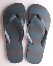 Mens Navy Shane Blue Brown Stripe Rubber Flip Flops Beach Slipper Sandals New image 1