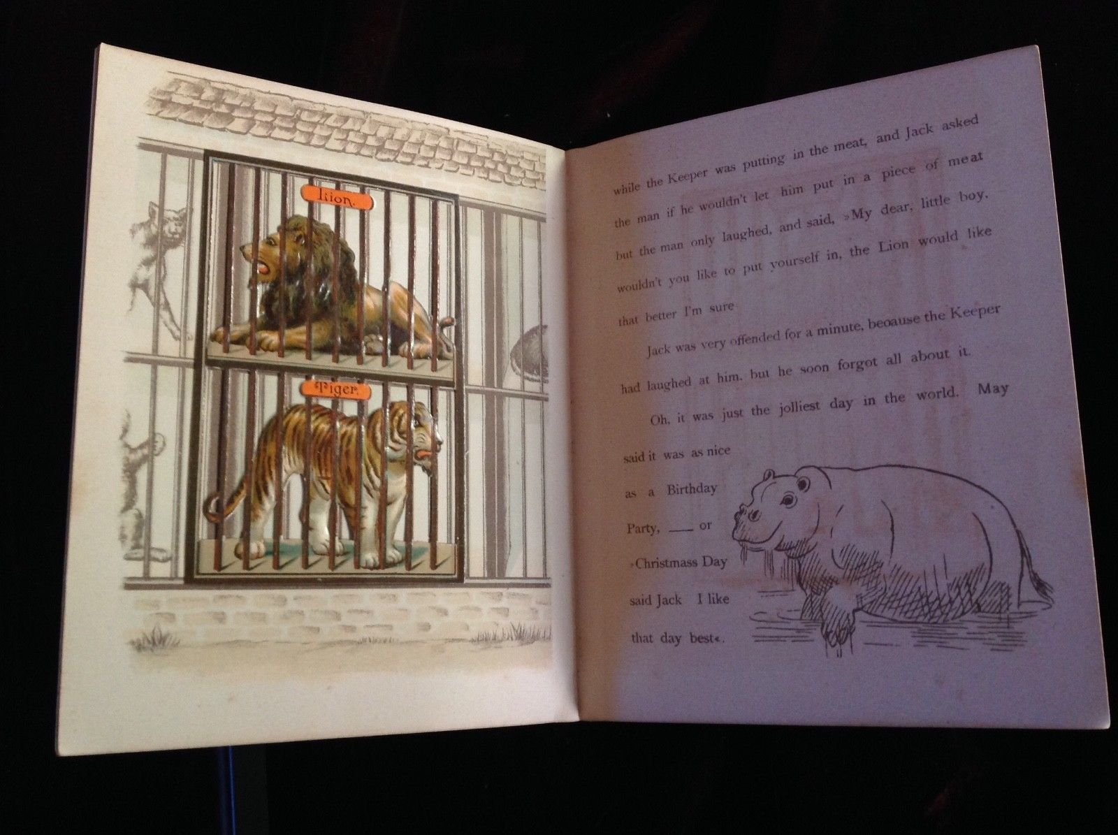 1892 moveable book My Friends At The Zoo Combined Expanding Toy & Painting Book