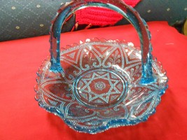 Beautiful Unusual Design Blue Glass BASKET...Maker ???..................... - $11.88