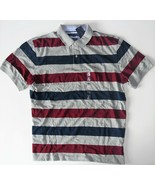Tommy Hilfiger Mens Polo Stripe Short Sleeve Shirt Blue Gray Red Size XL... - $38.79