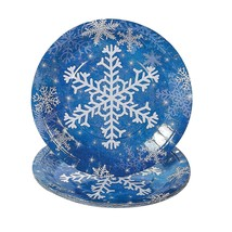 "9"" Blue Paper Snowflake Dinner Plates - Christmas Party Supplies - $7.12"