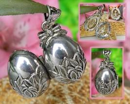 Vintage Locket Pendant Egg Shaped Teddy Bear Surprise Silver Signed - $24.95
