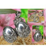 Vintage Locket Pendant Egg Shaped Teddy Bear Surprise Silver Signed - $24.95