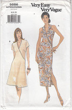 Dress Close Fit A-Line Tapered Variations Vogue Sew Pattern 9666 Size 6-10 Uncut - $11.23