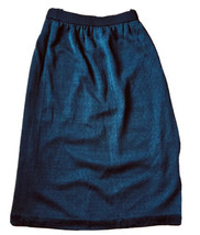 Dark Blue Knit Pencil Skirt Woman's size M elastic waist Lined Acetate/N... - $4.94