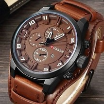 CURREN 8225 Fashion Men Quartz Wristwatch Creative Leather Strap Sports Watch - $22.42
