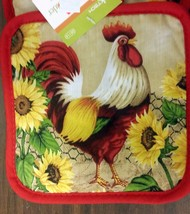 2 Fabric Printed Pot Holders, ROOSTER & SUNFLOWERS, w/red back by COOKTE... - $7.91