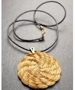 Flower Pendant Necklace, Golden Grass Flower Pendant, Black Leather Cord... - $22.40