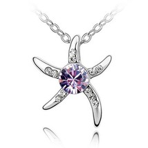 Austria Crystal Starfish Love Silver Plated Nickel Free Pendants & Necklaces For - $13.49