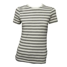 H&M Basic Womens Gray White Stripe Crew Neck Short Sleeve Casual Top Shi... - $11.88