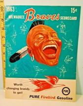1963 Milwaukee Braves Official Baseball Score Card v Colt .45s Scored - $6.92