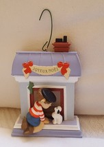 Hallmark Christmas Ornament Joyeux Noel Boy Dog Fireplace 1988 Vintage pre-owned - $16.73