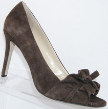Enzo Angiolini 'Mielee' brown suede peep toe ruffle ribbon leather heels 8M - $31.47