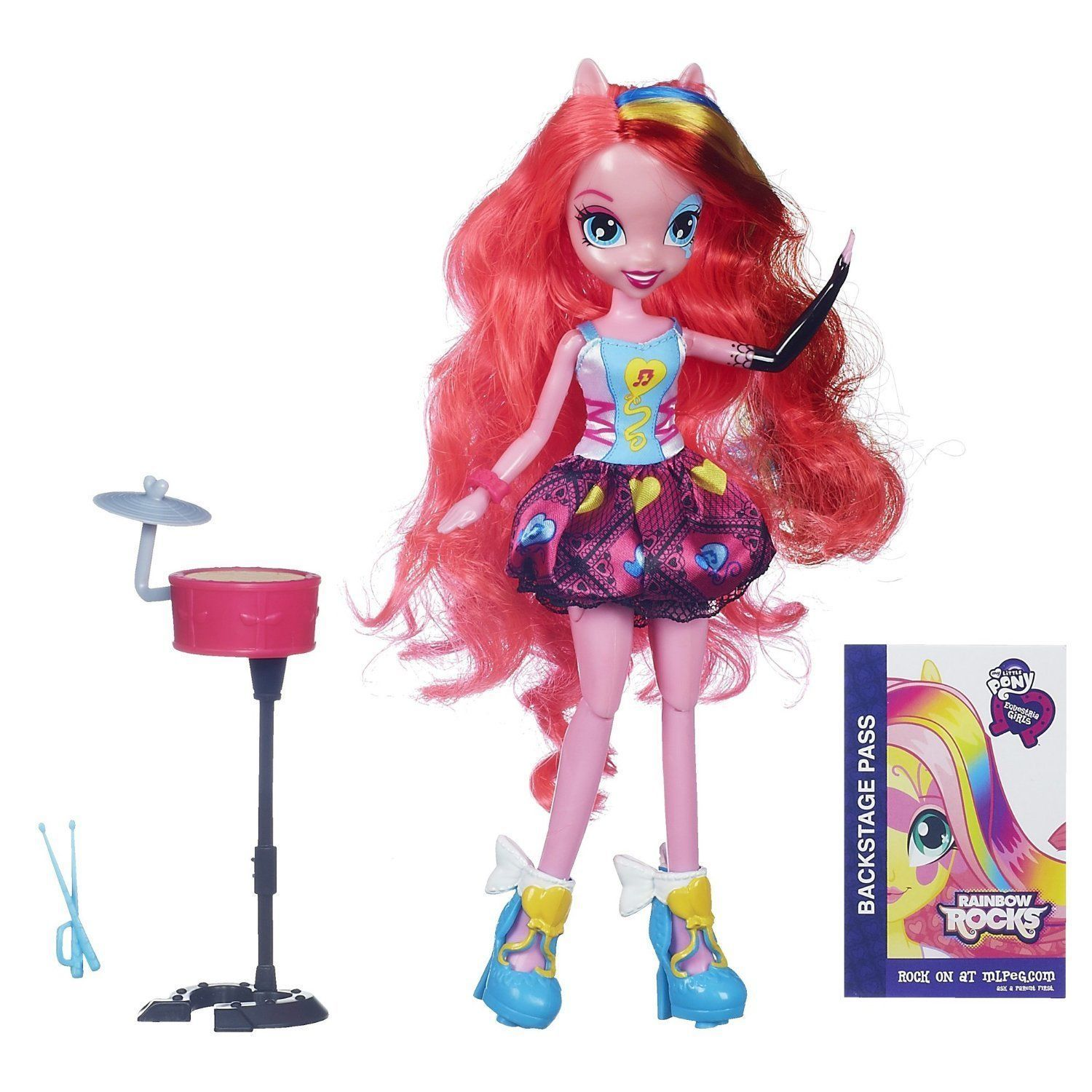 My Little Pony Equestria Girls Pinkie Pie Doll Rocks & Sings w/Drums 6+ Hasbro