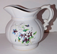 McCoy Pottery Floral Pitcher 5in 7528 USA Vintage Violet Flowers Carafe - $15.99