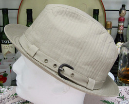 Stetson Ecru Cotton Cloth Fedora Hat With Side Buckle Size 7 1/2 - $24.70