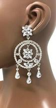 """3.5"""" Long Clear Rhinestone Statement Chandelier Hoop Earrings Pageant Drag Queen - $23.75"""