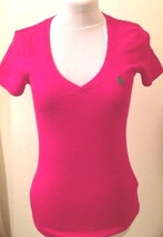 Ralph Lauren Womens Ladies Pink Polo V Neck T Shirt Cotton Size Small - $52.45