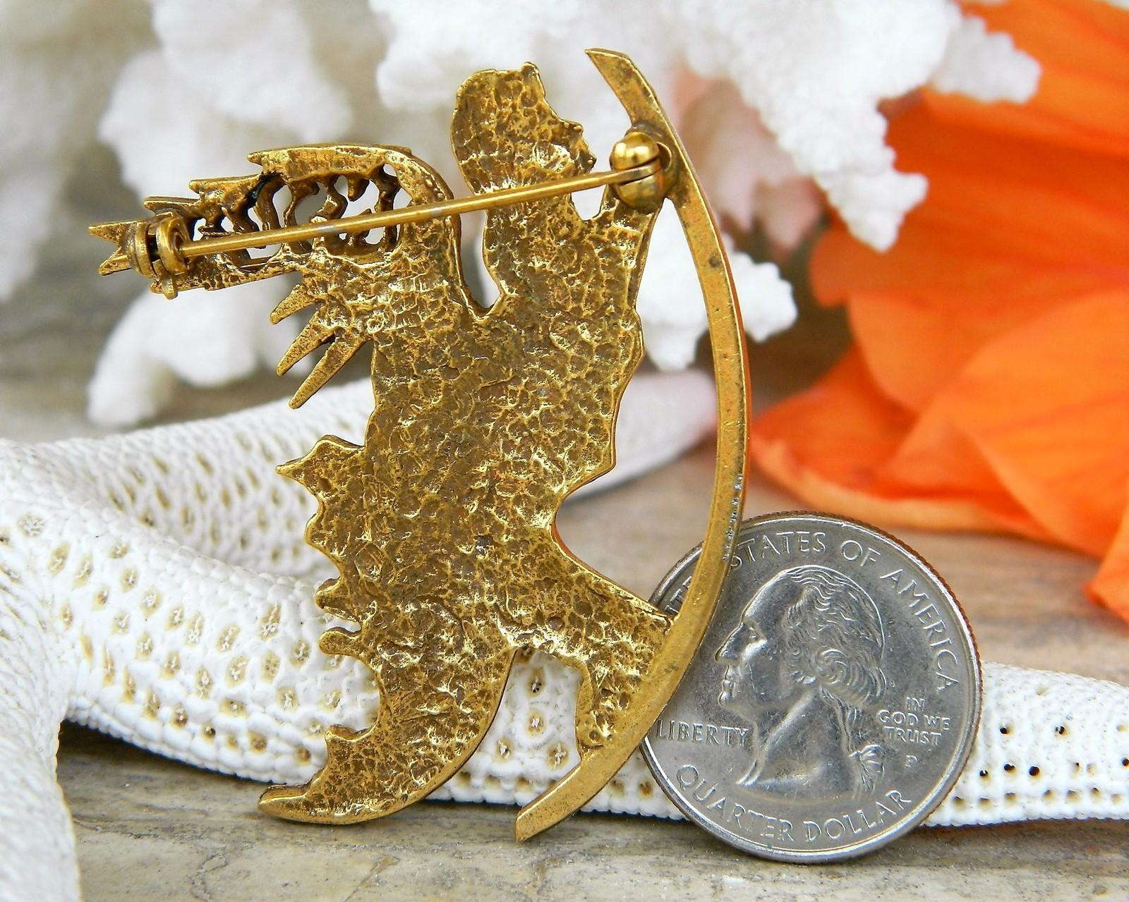 Vintage Salvador Dali Winged Angel Brooch Pin Judaica Israel Signed