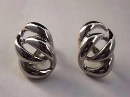 Vintage Napier Silvertone Links Earrings w/ screw clip backs EUC - $8.99