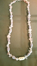 """Rare"" Lavender Color Chevron African Trade Beads Necklace Natural Rose ... - $24.74"
