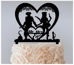Wedding Cake topper,Cupcake topper, Mr & Mrs, Pirate wedding silhouette : 11 pcs - $20.00