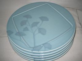 """2 Pier 1 GINGKO Dinner Plates 11"""" Blue Flowers Earthenware Never Used Conditions - $15.83"""