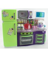 GIRL FUN TOYS Deluxe Modern Kitchen with Refrigerator Barbie Size Furnit... - $24.99