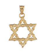 10K Yellow Gold Jewish Star of David Reversible Pendant - $139.99