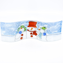 Fused Art Glass Winter Holiday Snowmen Snow Wavy Sun Catcher Handmade in Ecuador image 1