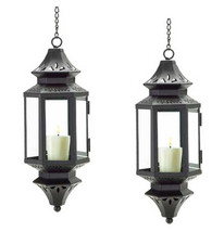 Two (2) black hanging Asian metal glass patio deck candle holder lantern... - $24.00